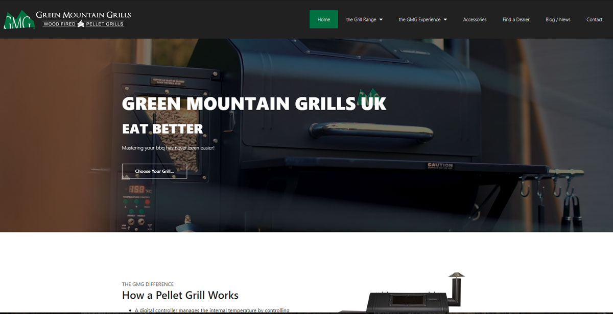GREEN MOUNTAIN GRILLS UK website