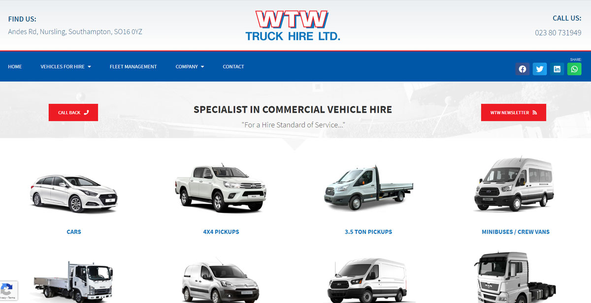 WTW Truck Hire website